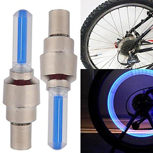 IDH 2pc Bike Fahrrad BMX Rad Reifen Ventilkappe Speichen Neon LED Licht Lampe, 4Farbe zu wählen Blau blau