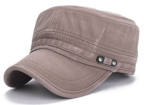 ChezAbbey Unisex Fitted Flat Top Cap Solid Brim Army Cadet Style Military Hat with Adjustable Strap