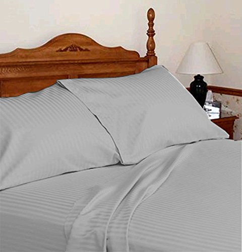 (Light Gray Color 600 TC Egyptian Cotton King Size Attached WATERBED Sheet Set,)