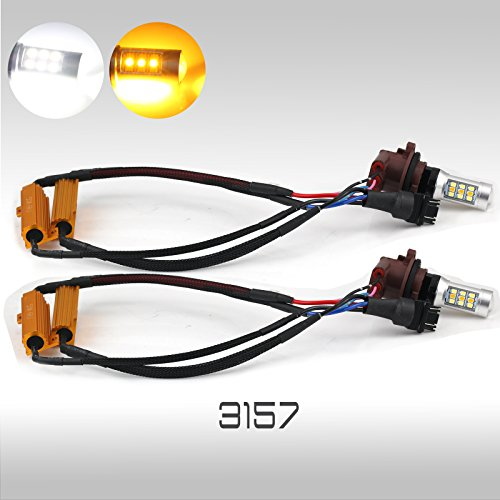 Error Free No Flicker High Power Dual Color Switchback LED Turn Signal Light Bulbs (3157)