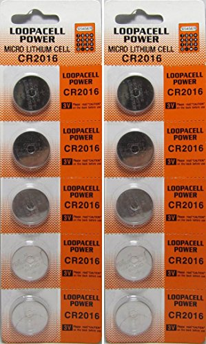 Loopacell Lithium 3V Batteries CR2016 10 (Cr2016 Cmos Battery)