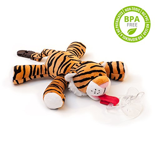 babyhuggle-tiger-pacifier-stuffed-animal-binky-soft-plush-toy-with-detachable-silicone-baby-dummy-pa