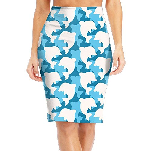 Casual Womens Print Slim High Waist Pencil Skirts Dolphins Camouflage Knee-Length (Camouflage Knee Length Skirt)