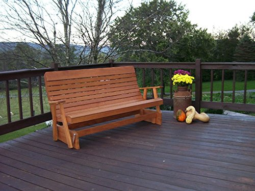 A&L Furniture 6' Amish-Made Pressure-Treated Pine Highback Patio Glider Bench, Cedar (Cedar Glider Bench)