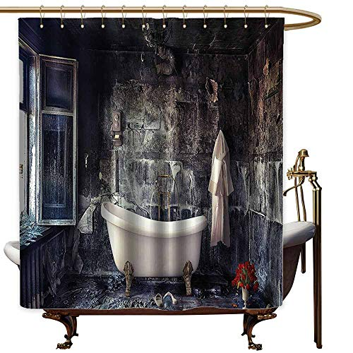 (StarsART Shower Curtains hookless Antique Decor,Bathtub in Old Room Bathroom Fresh Flower Bouquet in Vase Victorian Retro Style Theme,Grey White Red,W69 x L72,Shower Curtain for clawfoot tub )