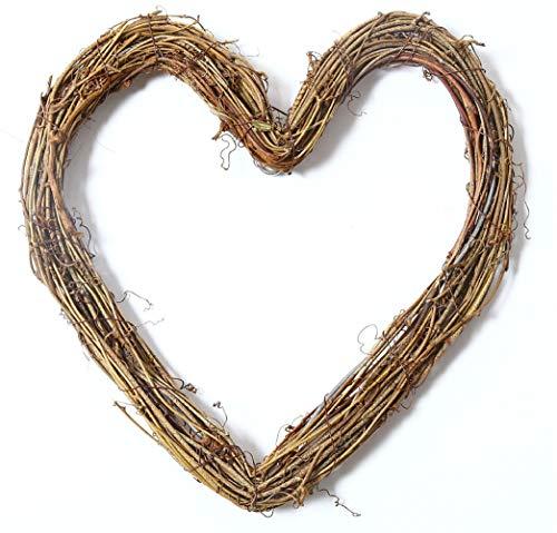 (Liveinu Grapevine Wreath Twigs Vine Wreath Craft Natural Dried Wood Branch Wreath Base Front Door Decoration Heart Shape 11.7 Inch)