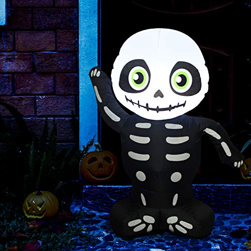 Sunlit Cute Inflatable Baby Skeleton Yard Decoration 3.5 feet Black Air Blown with Blower and Adapter, Lighted for Home Yard Garden Indoor Porch Outdoor Decoration Halloween Party, Trick or Treat Nigh (Best Halloween Indoor Decorations)