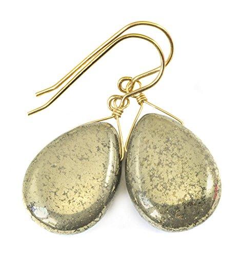 Pyrite Briolette Earrings (14k Gold Filled Pyrite Earrings Long Smooth Teardrop Shape Dangle Briolette Style)
