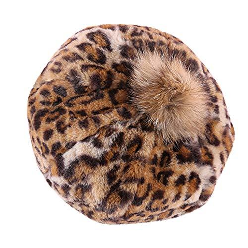 (Naiflowers Women Lady Fashion Elegant Pumpkin Leopard Print Casual Retro Pom Pom Beret Hat (Coffee))