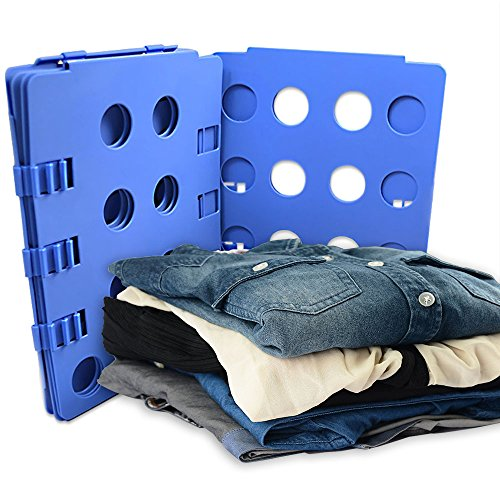 BoxLegend Blue Plastic Adjustable Clothes Folder with Clips and Dust-Proof Bag