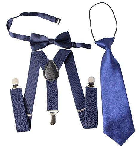 Keywin Baby Kids Boys Girls Toddler Tuxedo Adjustable Suspender & Bow Tie Set Matching Necktie (Toddler Blue Tuxedo)