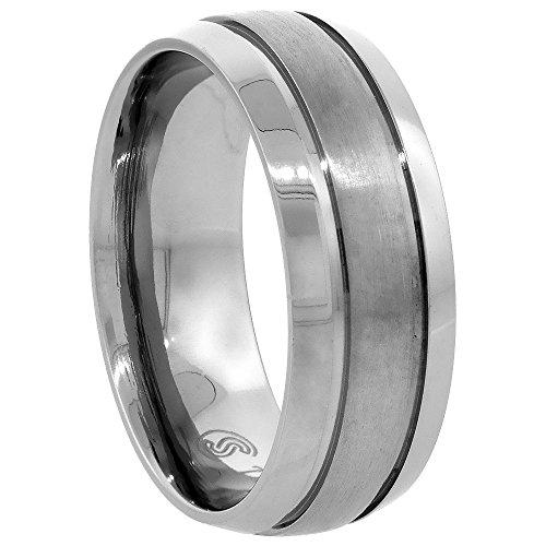 Titanium 8mm Wedding Band Ring Brushed Stripe Center Beveled Edges Domed Comfort Fit, size 12 (Center Stripe Ring)