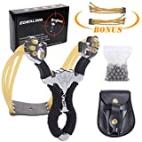 edealing Professional Stainless Steel Slingshot Set Outdoor Hunting Catapult Powerful Slingshot Bow + 2pcs Rubber Bands Replacement + 50pcs Steel Balls + 1pcs Leather Bag