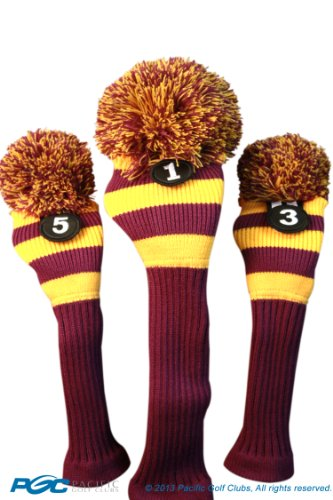 Knit Golf Club Covers - Majek Purple & Yellow Golf Club Head Cover Set for Limited Edition Throwback Long Neck Knit Retro Pom Pom Traditional Classic Vintage Old School Ultimate 460cc Driver Fairway Wood Golf Head Cover Stripe Set lsu colors