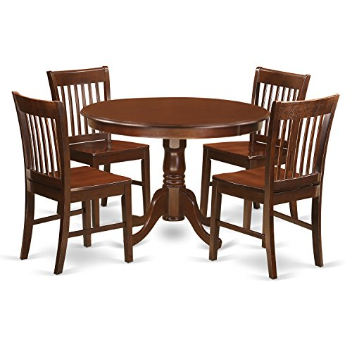 East West Furniture HLNO5-MAH-W 5Piece Hartland Set with One Round 42in Small Table & 4 Dinette Chairs with Wood Seat in a Beautiful Mahogany Finish