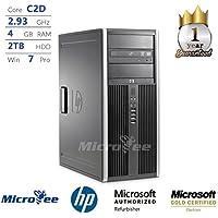HP Desktop Elite 8000 CMT C2D E7500 2.93GHz 4GB 2TB HDD No-Camera DVD Win 7 Pro (Certified Refurbished)