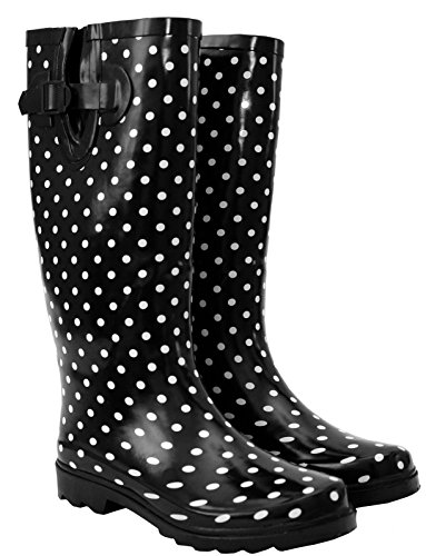 A&H Footwear Ladies Womens New Adjustable Calf Waterproof Rubber Festival Rain Mud Snow Girls Wellington Boots Wellies - Sizes UK 3-8 Black/White Spots fenwyO