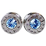 Real Silver Bullet Stud Earrings with Swarovski Aquamarine Crystal Gems