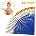 60 Pieces Children's Art Paintbrushes, Little Painting Brushes for Acrylic, Oil and Watercolor, Flat and Pointed Blue