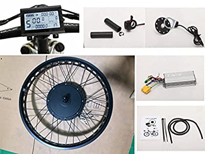 """NBPower 26"""" x 4.0 48V 1500W Electric Bicycle Fat bike kit, 1500W Fat E-bike Conversion Kit with 1500W Hub Motor,Multifunction LCD Display, thumb trottle and 35A controller."""