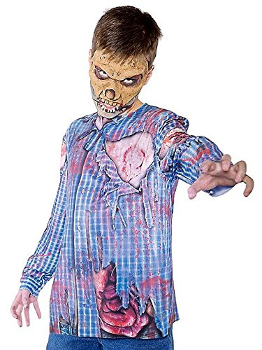 Underwraps Big Boy's Children's Zombie Shirt - Photo Real, Large 10-12 Childrens Costume, Multi, Large (Last Minute Halloween Costume Ideas For Kids)