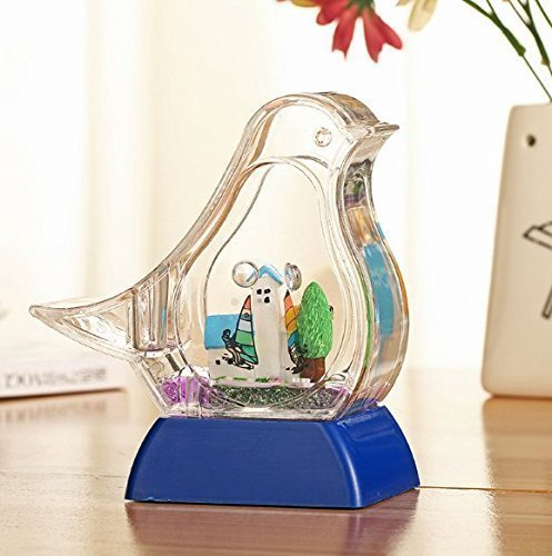 UChic 1PCS Creative Novelty Fashion Glitter LED Glow Pen Holder Box Kids Present SS-Shaped Pigeon Styling Oil Drop Floating Sail Boat Pencil Holder Desktop Home Decoration At Style - Valley Fashion Hours