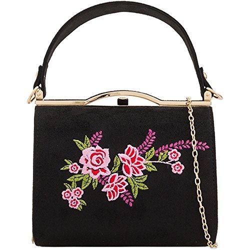 KH2165 Women's Shoulder Messenger Ladies Bag Black Body Box Purse Envelope Suede Party Cross Handbag Floral Clutch Evening qUxZqvAn4