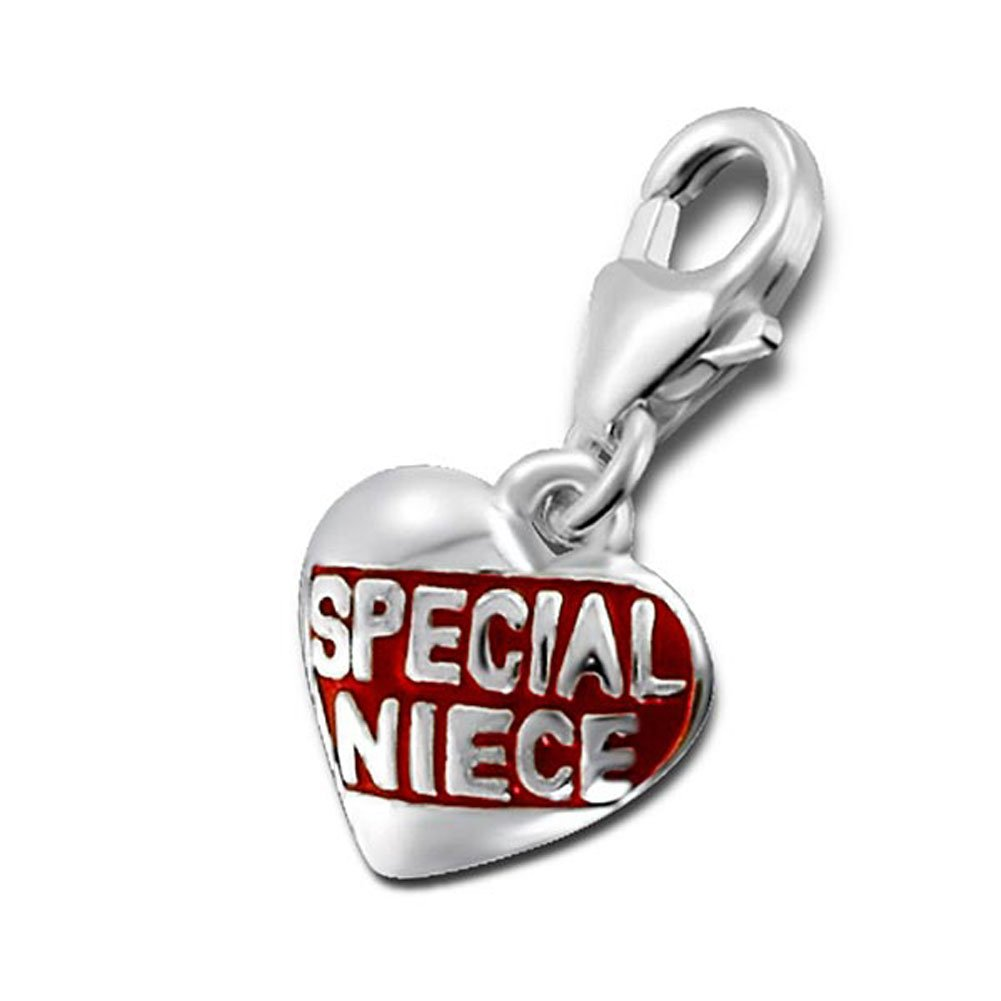 Special Niece Charm Lobster Clasp Heart Stering Silver 925 (E15037)