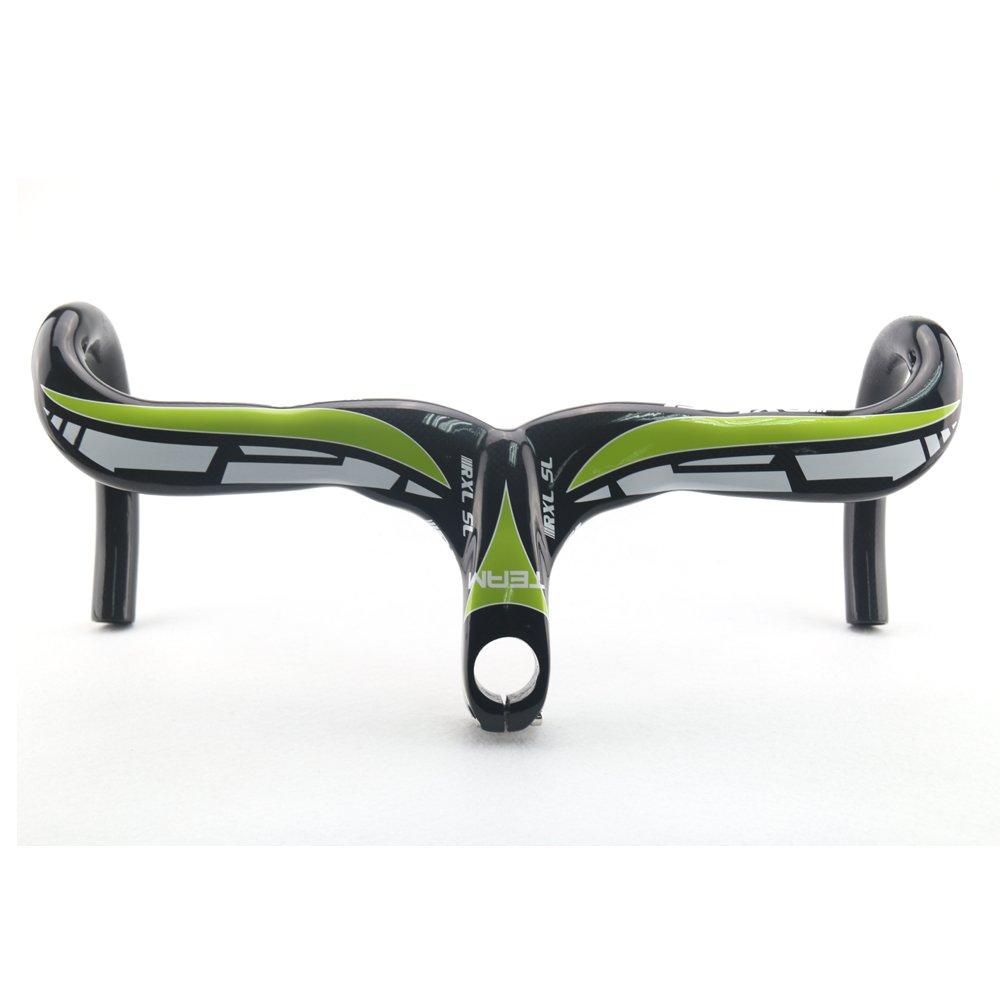 RXL SL 超軽量 フルカーボン ロードバイク ハンドルバー 自転車用ドロップハンドル インテグレーテッドハンドルバー 3K光沢 赤/青/緑 90/100/110mm*400/420mm B01DIJPP4K緑 90*400mm