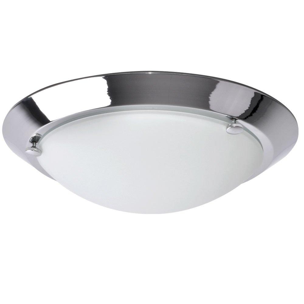 Decken Lampe Bade Zimmer Leuchte Feucht Raum Glas Chrom Beleuchtung rund weiß Briloner 2118-018