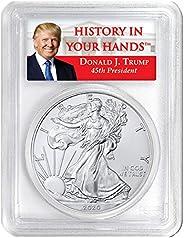 2020 W Burnished Silver Eagle - Donald Trump Label Dollar SP69 PCGS