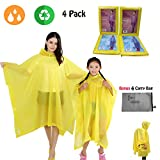 Happy-Life-House Rain Poncho Family Pack,Reusable Raincoat with Carry Bag,Rain Ponchos for Travel, Theme Parks, Hiking, Fishing,Kids