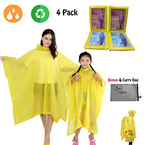 Happy-Life-House Rain Poncho Family Pack,Reusable Raincoat with Carry Bag,Rain Ponchos for Travel, Theme Parks, Hiking, Fishing,Kids by Happy-Life-House