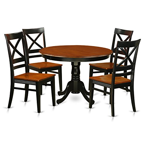 East West Furniture HLQU5-BCH-W 5 PC Hartland Set with One Round 36in Dinette Table & 4 Dinette Chairs with Faux Leather Seat in a Black & Cherry Finish
