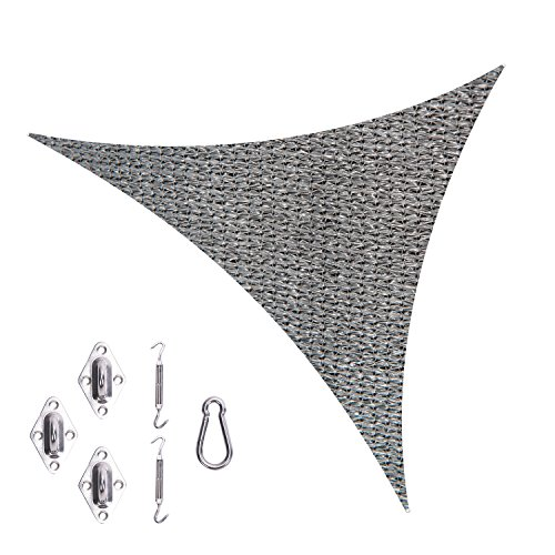 Cool Area Triangle 11 5 x 11 5 x 11 5 Durable Sun Shade Sail with Stainless Steel Hardware Kit, UV Block Fabric Patio Shade Sail in Color Graphite