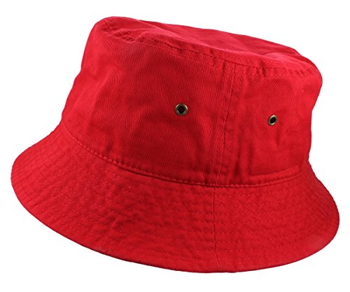 Gelante 100% Cotton Packable Fishing Hunting Sunmmer Travel Bucket Cap Hat 1900-Red-L/XL