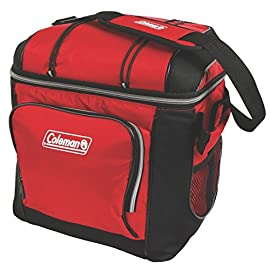 Coleman 30-Can Soft Cooler with Removable Liner 2 Holds 30 cans Includes removable hard plastic liner Front zippered pocket, side mesh pockets, mesh pocket in lid, and bungees on lid to hold more gear