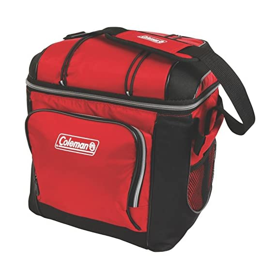 Coleman 30-Can Soft Cooler with Removable Liner 1 Holds 30 cans Includes removable hard plastic liner Front zippered pocket, side mesh pockets, mesh pocket in lid, and bungees on lid to hold more gear