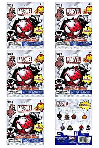 Kawaii Art Collection Marvel Foam Head Key Chain Lot (6) Sealed - Head Foam Keychain