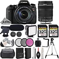 Canon EOS Rebel T6s Camera + Canon EF-S 18-135mm f/3.5-5.6 IS STM Lens + 2 Of 32GB Class 10 Memory Card + Shotgun Microphone + LED Light KIt - All Original Accessories Included - International Version