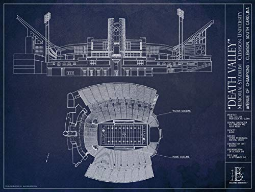 Death Valley - Clemson - Blueprint Style Print