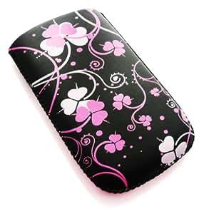 Emartbuy ® Pink Clover Premium De Cuero De La Pu Bolsa / Caja / Manga / Soporte (Tamaño Mediano) Con El Mecanismo De Lengüeta Para Blackberry 8900 Curve