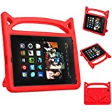 Fire HD 8 Case- 5th 6th 7th Generation Kids Case Amazon Kindle Fire HD 8 Keyboard Case 2016/2017 (Red)