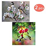 2 Packs DIY 5D Diamond Painting Set Full Drill Rhinestone Crystals Embroidery Birds Cross Stitch Arts Craft Home Wall Decorating