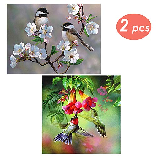 2 Packs DIY 5D Diamond Painting Set Full Drill Rhinestone Crystals Embroidery Birds Cross Stitch Arts Craft Home Wall Decorating by Fivebop