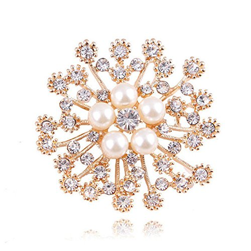 Crystal Brooches for Women Vintage Retro Scarf Clip Luxury Rhinestone Preal Flower Brooch Pin
