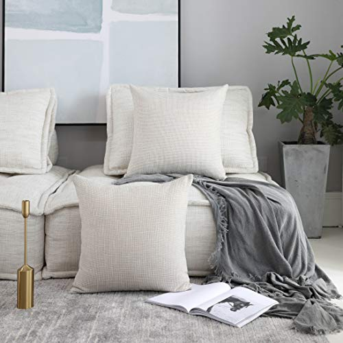 Kevin Textile Decoration Supersoft Linen Cushion Covers Square Throw Pillows Cover for Couch, 50x50 cm, Set of 2, Light Beige