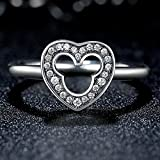 F&F Ring Sterling Silver Heart Finger Ring Fine Jewelry for Women Wedding Rings