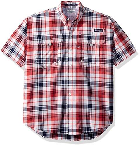Columbia Mens Super Bahama Short Sleeve Shirt, Sunset Red Plaid, XX-Large