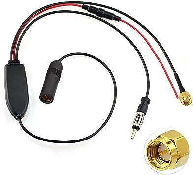 Bingfu Divisor de Antena Radio Dab+ FM/Am de Coche Adaptador DIN Hembra a DIN Macho y SMA Macho Compatible con Sintonizador de Radio Digital Dab JVC ...